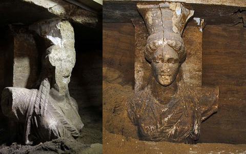 Οι Σφίγγες, οι Καρυάτιδες και το ψηφιδωτό είναι, σύμφωνα με τους επιστήμονες, ευρήματα που αποδεικνύουν ότι πρόκειται για ταφικό μνημείο.