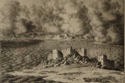 Το Μεσολόγγι καίγεται. Γκραβούρα. — Δημοτική Πινακοθήκη.